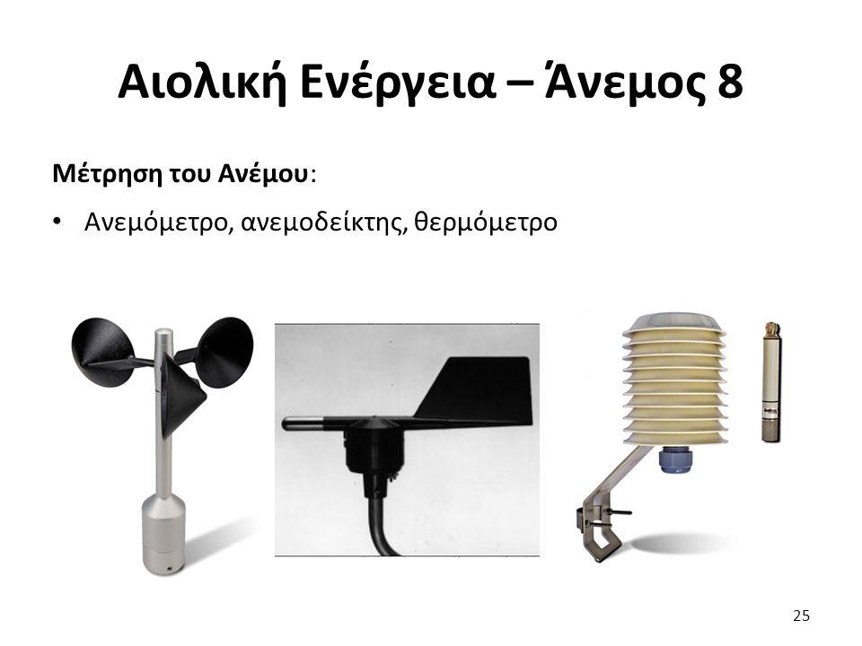 Αιολική Ενέργεια – Άνεμος 8 Μέτρηση του Ανέμου: Ανεμόμετρο, ανεμοδείκτης, θερμόμετρο 25