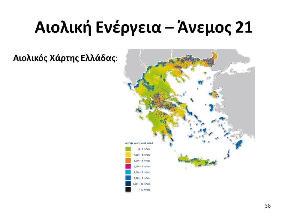 Αιολική Ενέργεια – Άνεμος 21 Αιολικός Χάρτης Ελλάδας: 38
