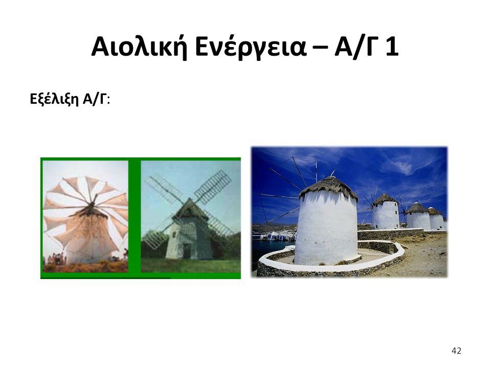 Αιολική Ενέργεια – Α/Γ 1 Εξέλιξη Α/Γ: 42