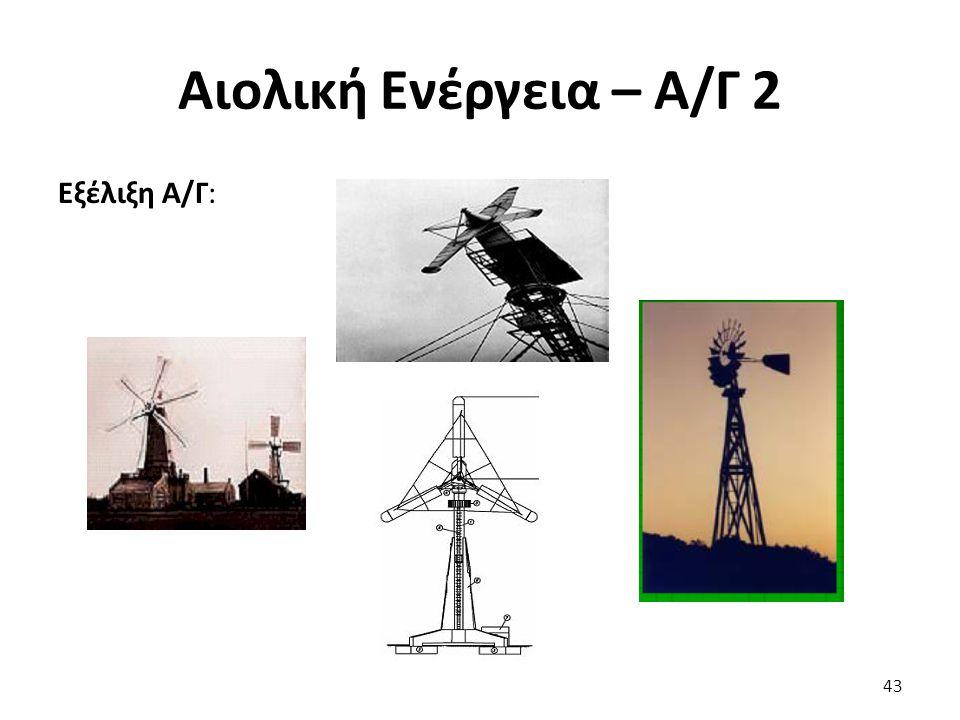 Αιολική Ενέργεια – Α/Γ 2 Εξέλιξη Α/Γ: 43
