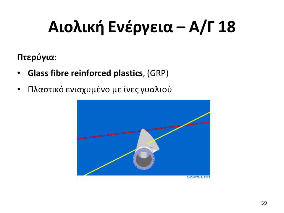 Αιολική Ενέργεια – Α/Γ 18 Πτερύγια: Glass fibre reinforced plastics, (GRP) Πλαστικό ενισχυμένο με ίνες γυαλιού 59