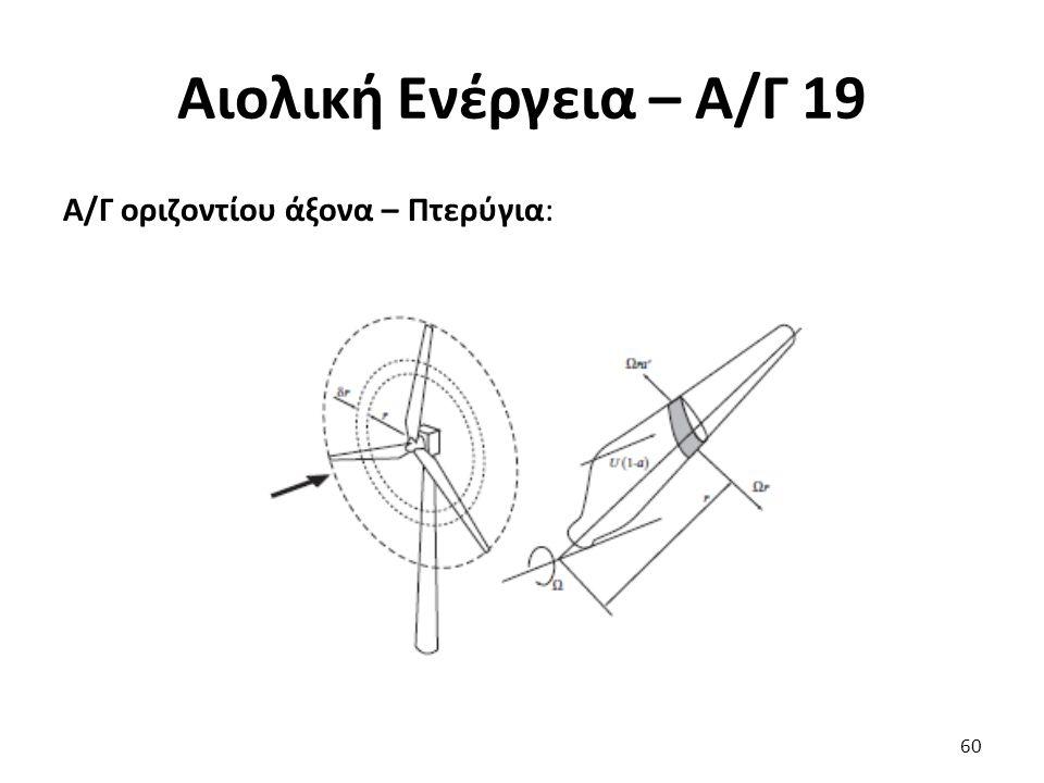 Αιολική Ενέργεια – Α/Γ 19 Α/Γ οριζοντίου άξονα – Πτερύγια: 60