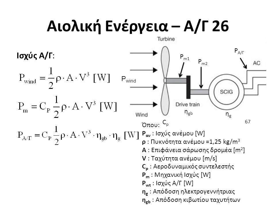 Αιολική Ενέργεια – Α/Γ 26 Ισχύς Α/Γ: 67 Όπου: P αν : Ισχύς ανέμου [W] ρ : Πυκνότητα ανέμου =1,25 kg/m 3 A : Επιφάνεια σάρωσης δρομέα [m 2 ] V : Ταχύτη