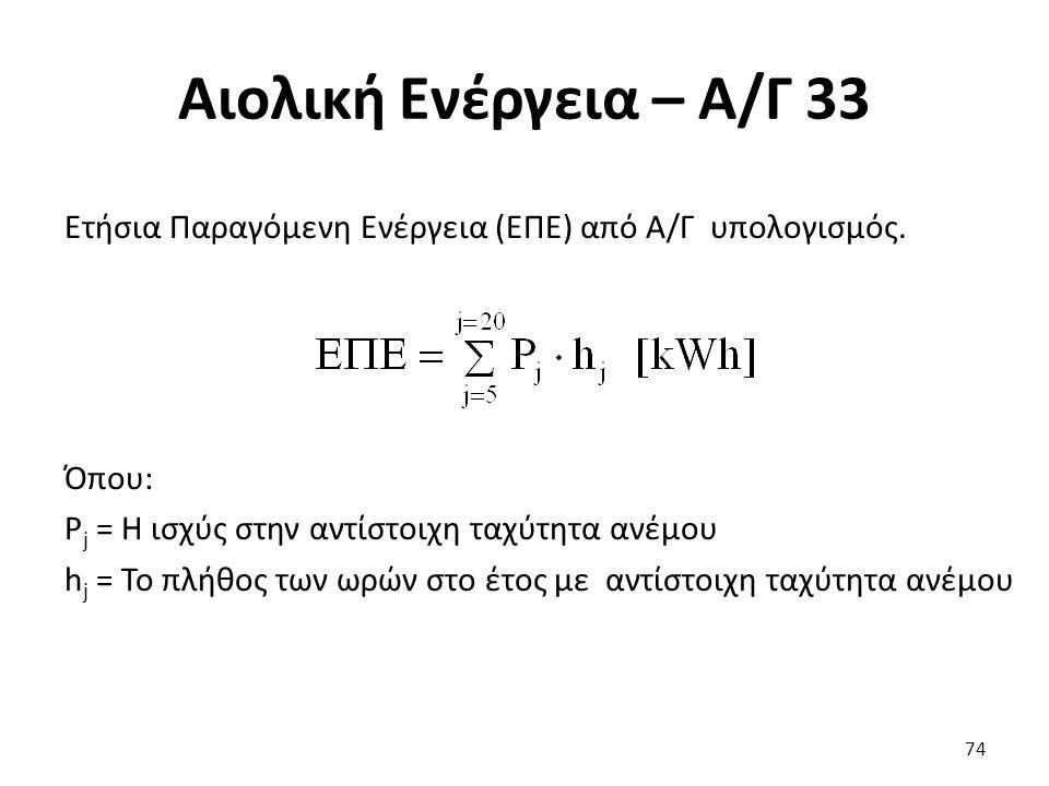 Αιολική Ενέργεια – Α/Γ 33 74 Ετήσια Παραγόμενη Ενέργεια (ΕΠΕ) από Α/Γ υπολογισμός. Όπου: P j = Η ισχύς στην αντίστοιχη ταχύτητα ανέμου h j = Το πλήθος