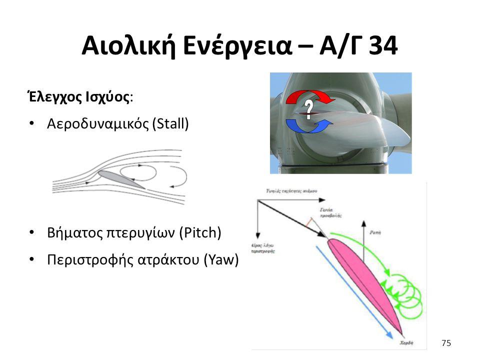 Αιολική Ενέργεια – Α/Γ 34 Έλεγχος Ισχύος: Αεροδυναμικός (Stall) Βήματος πτερυγίων (Pitch) Περιστροφής ατράκτου (Yaw) 75