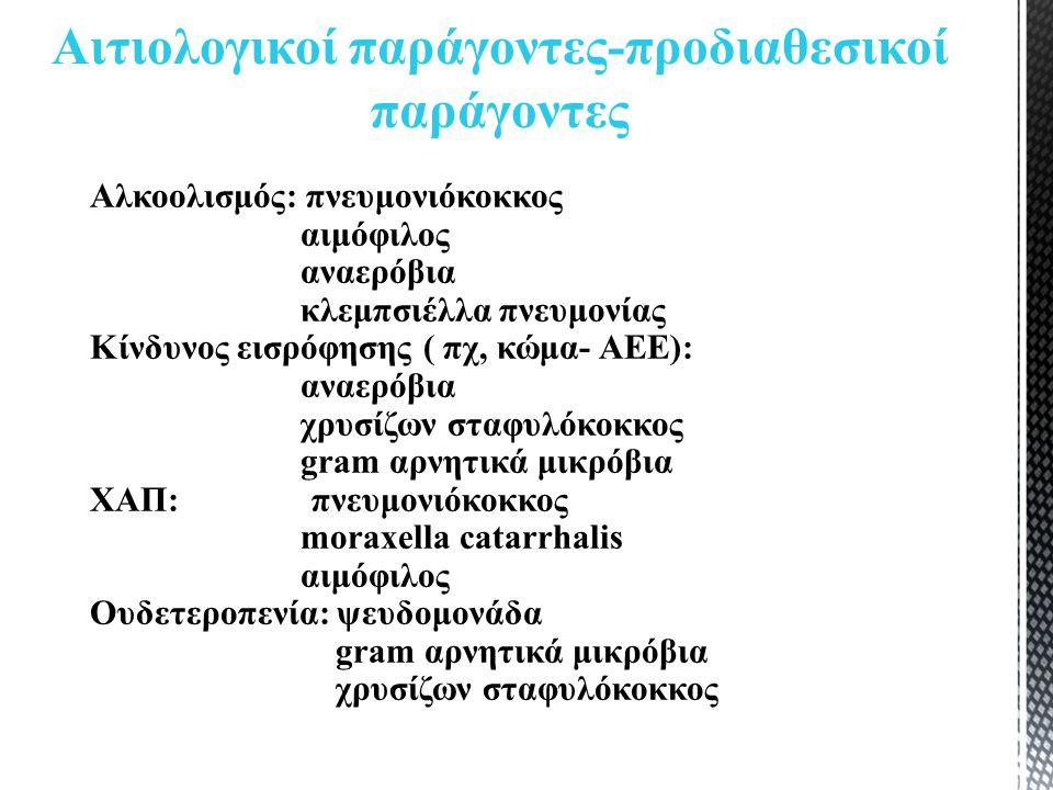 Αλκοολισμός: πνευμονιόκοκκος αιμόφιλος αναερόβια κλεμπσιέλλα πνευμονίας Κίνδυνος εισρόφησης ( πχ, κώμα- ΑΕΕ): αναερόβια χρυσίζων σταφυλόκοκκος gram αρνητικά μικρόβια ΧΑΠ: πνευμονιόκοκκος moraxella catarrhalis αιμόφιλος Ουδετεροπενία: ψευδομονάδα gram αρνητικά μικρόβια χρυσίζων σταφυλόκοκκος Αιτιολογικοί παράγοντες-προδιαθεσικοί παράγοντες