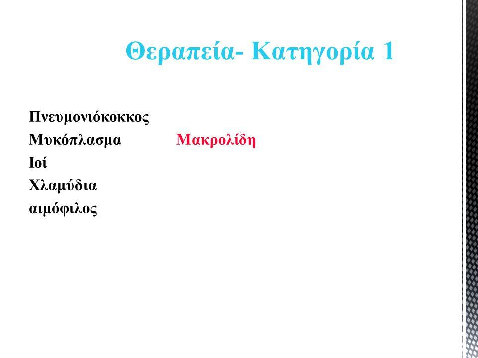 Πνευμονιόκοκκος Μυκόπλασμα Μακρολίδη Ιοί Χλαμύδια αιμόφιλος Θεραπεία- Κατηγορία 1