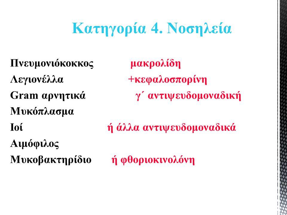 Πνευμονιόκοκκος μακρολίδη Λεγιονέλλα +κεφαλοσπορίνη Gram αρνητικά γ΄ αντιψευδομοναδική Μυκόπλασμα Ιοί ή άλλα αντιψευδομοναδικά Αιμόφιλος Μυκοβακτηρίδιο ή φθοριοκινολόνη Κατηγορία 4.