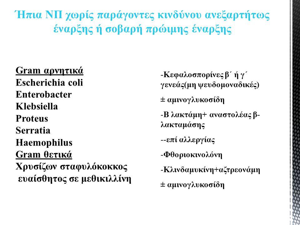 Gram αρνητικά Escherichia coli Enterobacter Klebsiella Proteus Serratia Haemophilus Gram θετικά Χρυσίζων σταφυλόκοκκος ευαίσθητος σε μεθικιλλίνη Ήπια ΝΠ χωρίς παράγοντες κινδύνου ανεξαρτήτως έναρξης ή σοβαρή πρώιμης έναρξης -Κεφαλοσπορίνες β΄ ή γ΄ γενεάς(μη ψευδομοναδικές) ± αμινογλυκοσίδη -Β λακτάμη+ αναστολέας β- λακταμάσης --επί αλλεργίας -Φθοριοκινολόνη -Κλινδαμυκίνη+αζτρεονάμη ± αμινογλυκοσίδη