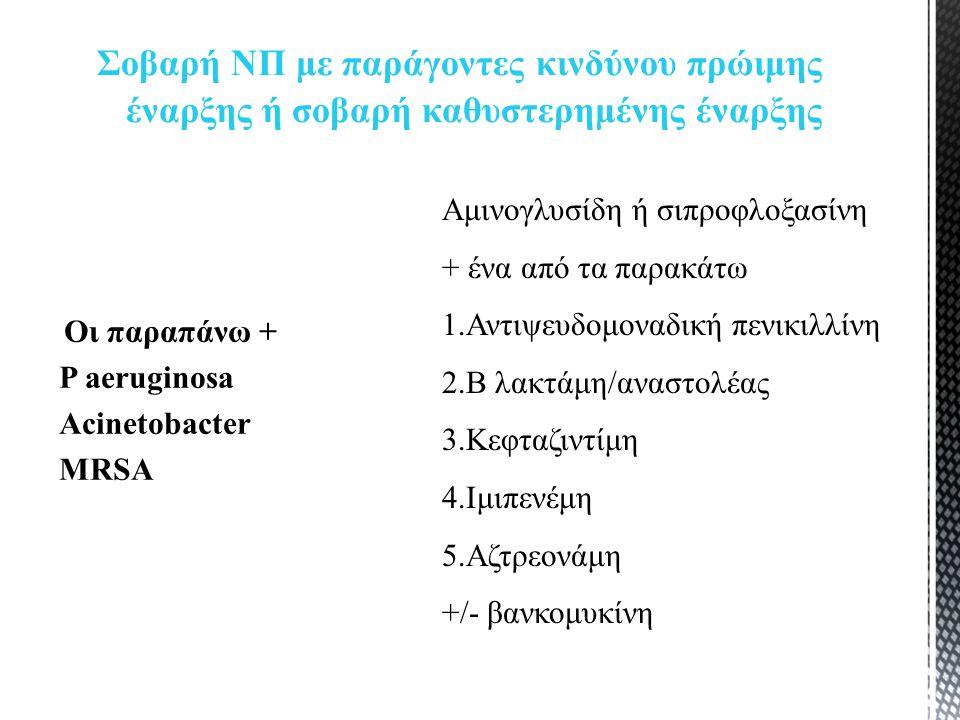 Οι παραπάνω + P aeruginosa Acinetobacter MRSA Σοβαρή ΝΠ με παράγοντες κινδύνου πρώιμης έναρξης ή σοβαρή καθυστερημένης έναρξης Aμινογλυσίδη ή σιπροφλοξασίνη + ένα από τα παρακάτω 1.Αντιψευδομοναδική πενικιλλίνη 2.Β λακτάμη/αναστολέας 3.Κεφταζιντίμη 4.Ιμιπενέμη 5.Αζτρεονάμη +/- βανκομυκίνη