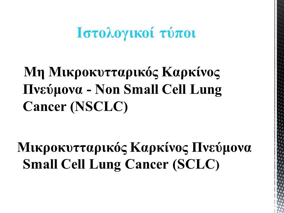 Μη Μικροκυτταρικός Καρκίνος Πνεύμονα - Non Small Cell Lung Cancer (NSCLC) Μικροκυτταρικός Καρκίνος Πνεύμονα Small Cell Lung Cancer (SCLC ) Ιστολογικοί τύποι