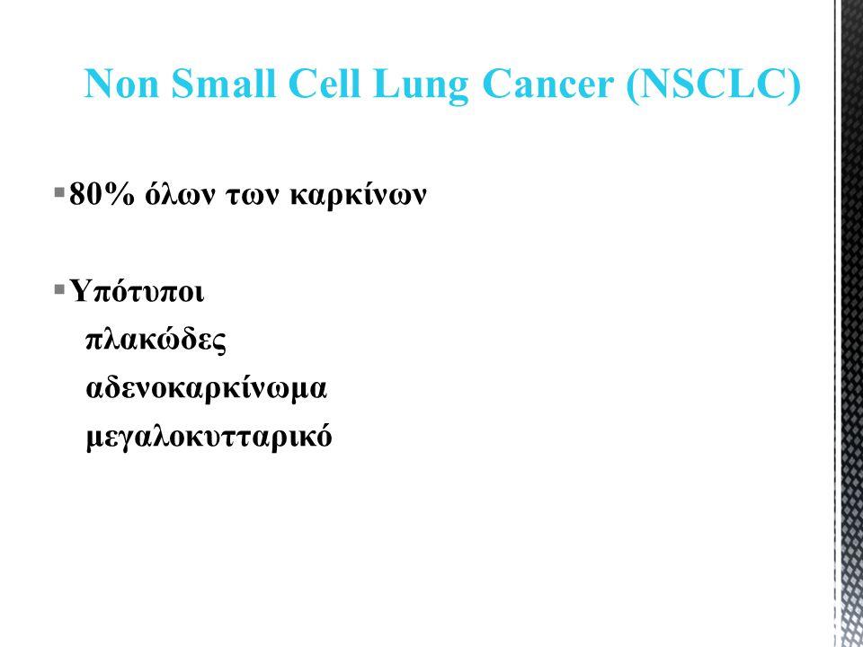  80% όλων των καρκίνων  Υπότυποι πλακώδες αδενοκαρκίνωμα μεγαλοκυτταρικό Non Small Cell Lung Cancer (NSCLC)