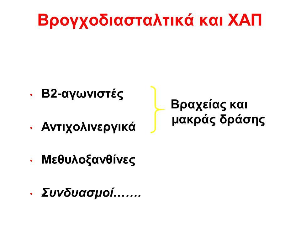 Βρογχοδιασταλτικά και ΧΑΠ Β2-αγωνιστές Αντιχολινεργικά Μεθυλοξανθίνες Συνδυασμοί……. Βραχείας και μακράς δράσης