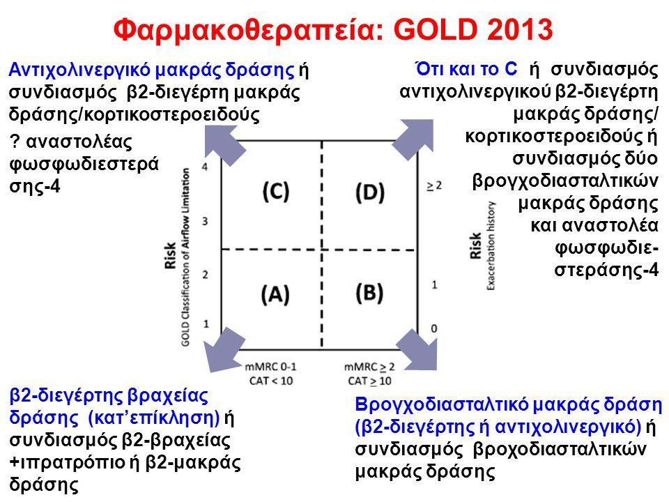 Φαρμακοθεραπεία: GOLD 2013 β2-διεγέρτης βραχείας δράσης (κατ'επίκληση) ή συνδιασμός β2-βραχείας +ιπρατρόπιο ή β2-μακράς δράσης Βρογχοδιασταλτικό μακρά