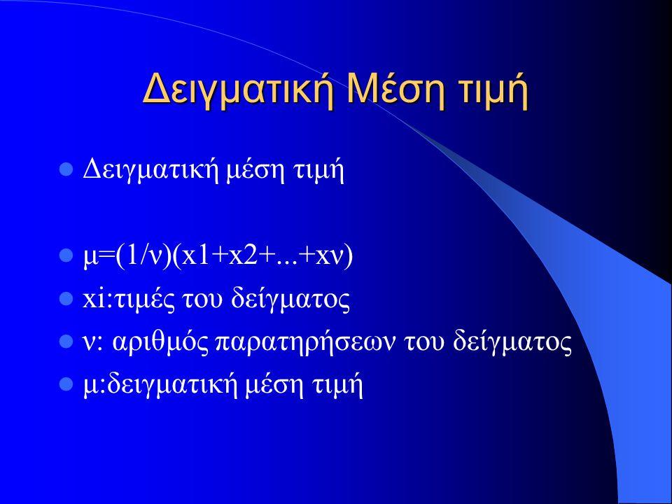 Δειγματική συνδιακύμασνη s xy =(1/(n-1))(Σ(x i -μ x )(y i -μ y )) μ x : μέση τιμή των χ, μ y : μέση τιμή των y Οταν x i = y i λέγεται απλώς διακύμανση συμβολίζεται με s xx η και s 2 x και περιγράφει ενός είδους μέσης απόκλισης των τιμών του δείγματος από τη μέση τιμή του δείγματος