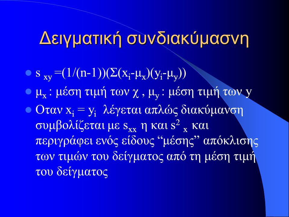 Δειγματική συνδιακύμανση 2 Εναλλακτικά κάνοντας πράξεις στον τύπο έχουμε την εξής περισσότερο βολική μορφή (n-1)s xy = (Σ(x i -μ x )(y i -μ y ))=Σxy - ((Σx)(Σy))/n (n-1)s xx = (Σ(x i -μ x ) 2 )=Σx 2 -((Σx) 2 )/n