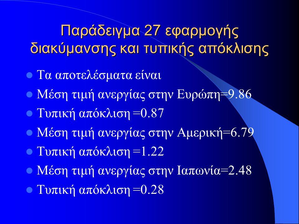 Παράδειγμα 28 εφαρμογής διακύμανσης και τυπικής απόκλισης Συμπεραίνουμε πως την μεγαλύτερη μέση ανεργία είχε η Ευρώπη και την μεγαλύτερη τυπική απόκλιση (δηλ.