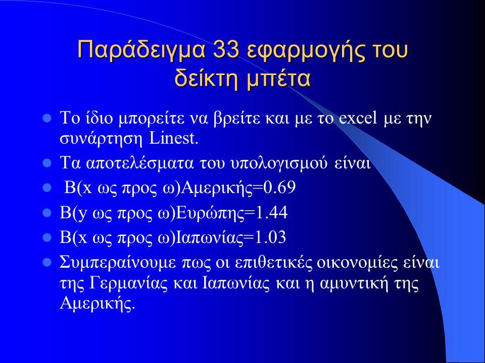 Παράδειγμα 34 εφαρμογής πρόβλεψης χρονολογικών σειρών Στον πίνακα του παραδείγματος 30 υπολογίστε με την μέθοδο του εκθετικού κυλιόμενου μέσου (ARMA(1,1)) πρόβλεψη για την ετήσια ποσοστιαία μεταβολή της παγκόσμιας στήλης το έτος 1991.