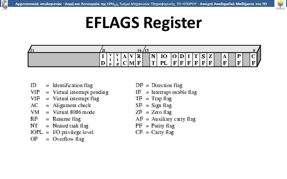 2626 Αρχιτεκτονική υπολογιστών –Δομή και Λειτουργία της CPU 2/2, Τμήμα Μηχανικών Πληροφορικής, ΤΕΙ ΗΠΕΙΡΟΥ - Ανοιχτά Ακαδημαϊκά Μαθήματα στο ΤΕΙ Ηπείρου EFLAGS Register