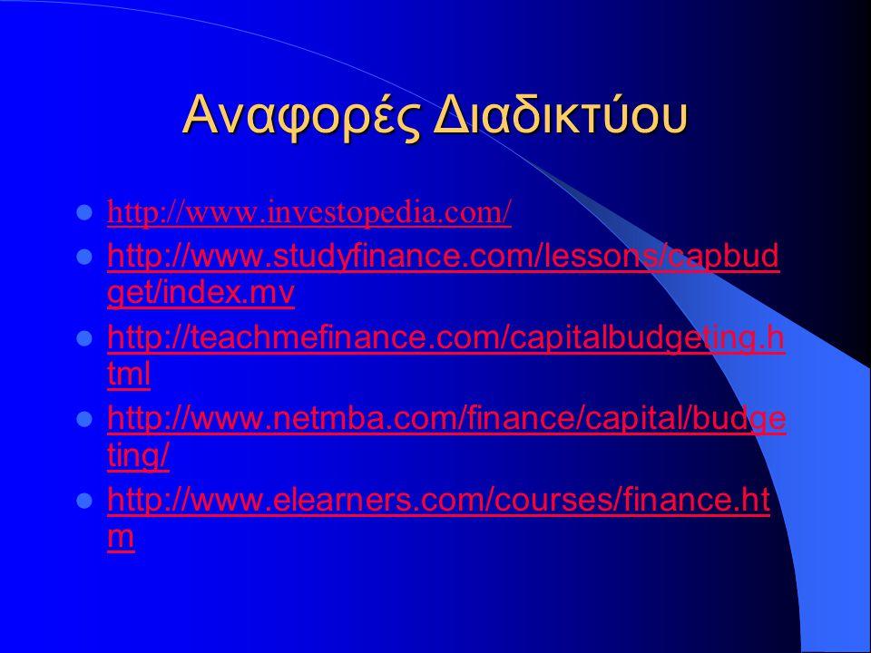 Αναφορές Διαδικτύου http://www.investopedia.com/ http://www.studyfinance.com/lessons/capbud get/index.mv http://www.studyfinance.com/lessons/capbud get/index.mv http://teachmefinance.com/capitalbudgeting.h tml http://teachmefinance.com/capitalbudgeting.h tml http://www.netmba.com/finance/capital/budge ting/ http://www.netmba.com/finance/capital/budge ting/ http://www.elearners.com/courses/finance.ht m http://www.elearners.com/courses/finance.ht m