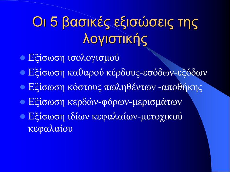 Οι 5 βασικές εξισώσεις της λογιστικής Εξίσωση ισολογισμού Εξίσωση καθαρού κέρδους-εσόδων-εξόδων Εξίσωση κόστους πωληθέντων -αποθήκης Εξίσωση κερδών-φόρων-μερισμάτων Εξίσωση ιδίων κεφαλαίων-μετοχικού κεφαλαίου