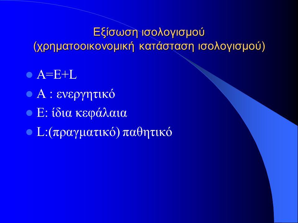 Εξίσωση κερδών (εσόδων-εξόδων),αποθήκης (χρηματοοικονομική κατάσταση αποτελεσμάτων) I=R-E I=Κέρδη R =Έσοδα E= Έξοδα