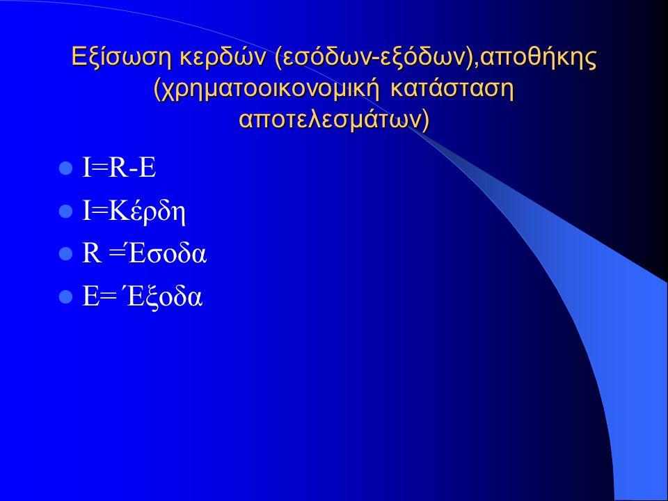 Εξίσωση κόστους πωληθέντων και αποθήκης για εμπορικές επιχειρήσεις E =(C + Ex) Ε=έξοδα Ex=όλα τα άλλα έξοδα εκτός από το κόστος πωληθέντων C= Κόστος πωληθέντων C =Pc+(Inv1-Inv2) Pc=Αγορές Inv1 = αξία αποθήκης αρχικά Inv2 = αξία αποθήκης τελικά