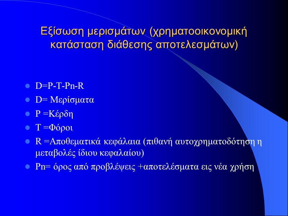 Εξίσωση ιδίων κεφαλαίων (χρηματοοικονομική κατάσταση ιδίων κεφαλαίων ευρωπαϊκής ένωσης) Ε=(S -NS + P + R)+(I + A) +(F-IFA) Ε= Ίδια κεφάλαια Κεφάλαια S =Μετοχικό κεφάλαιο NS =Μη καταβλημένο μετοχικό κεφάλαιο R = Αποθεματικά κεφάλαια P =Πριμ έκδοσης συγχώνευσης, διάσπασης Αποτελέσματα I =Καθαρά Αποτελέσματα χρήσης A =Νομοθετημένες προβλέψεις Μεταβολές παγίων F =Απόκλιση (υπεραξία) παγίων IFA=ασώματες ακινητοποιήσεις