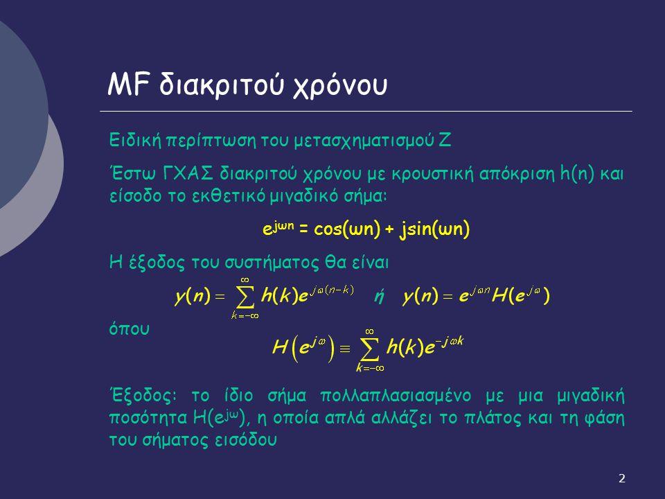 13 Δειγματοληψία ΜF σήματος διακριτού χρόνου, αν: Διαδοχικές επαναλήψεις του X a (Ω): επικαλύπτονται και αθ- ροιζόμενες δημιουργούν τον Χ(e jω ), στον οποίο έχει χαθεί η αρχική μορφή του X a (Ω) από τον οποίο προέκυψε Δεν είναι δυνατή η ανάκτηση του X a (Ω) από τον Χ(e jω ).