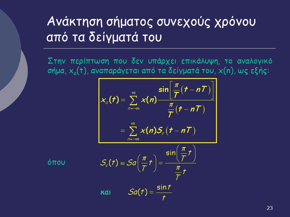 23 Ανάκτηση σήματος συνεχούς χρόνου από τα δείγματά του Στην περίπτωση που δεν υπάρχει επικάλυψη, το αναλογικό σήμα, x a (t), αναπαράγεται από τα δείγ
