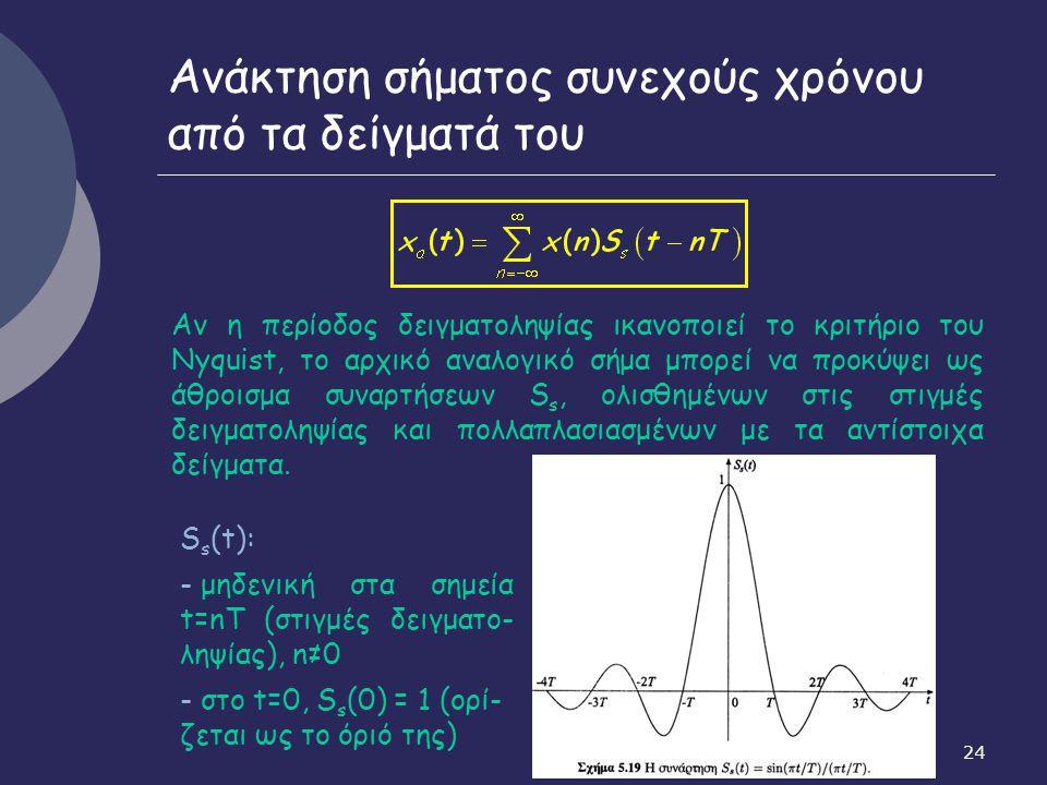 24 Ανάκτηση σήματος συνεχούς χρόνου από τα δείγματά του Αν η περίοδος δειγματοληψίας ικανοποιεί το κριτήριο του Nyquist, το αρχικό αναλογικό σήμα μπορ