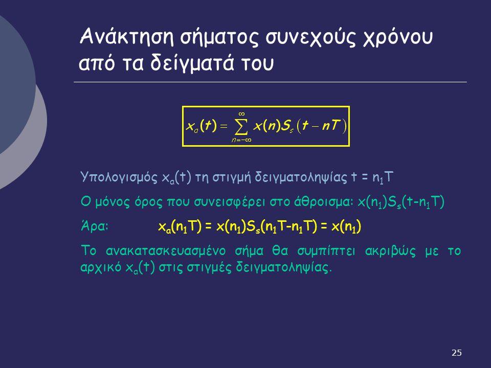 25 Ανάκτηση σήματος συνεχούς χρόνου από τα δείγματά του Υπολογισμός x a (t) τη στιγμή δειγματοληψίας t = n 1 T Ο μόνος όρος που συνεισφέρει στο άθροισ