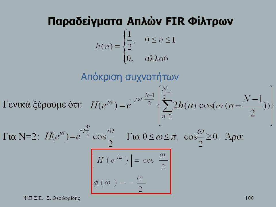 Ψ.Ε.Σ.Ε. Σ. Θεοδωρίδης 100 Παραδείγματα Απλών FIR Φίλτρων Απόκριση συχνοτήτων Γενικά ξέρουμε ότι: Για Ν=2:
