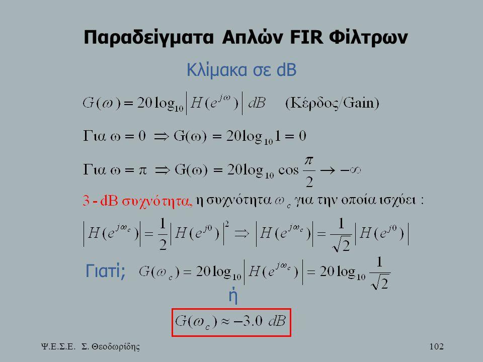 Ψ.Ε.Σ.Ε. Σ. Θεοδωρίδης 102 Παραδείγματα Απλών FIR Φίλτρων Κλίμακα σε dB Γιατί; ή