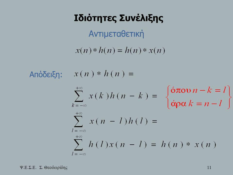Ψ.Ε.Σ.Ε. Σ. Θεοδωρίδης 11 Ιδιότητες Συνέλιξης Αντιμεταθετική Απόδειξη: