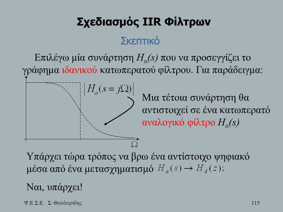 Ψ.Ε.Σ.Ε. Σ. Θεοδωρίδης 115 Σχεδιασμός IIR Φίλτρων Μια τέτοια συνάρτηση θα αντιστοιχεί σε ένα κατωπερατό αναλογικό φίλτρο Η α (s) Υπάρχει τώρα τρόπος ν