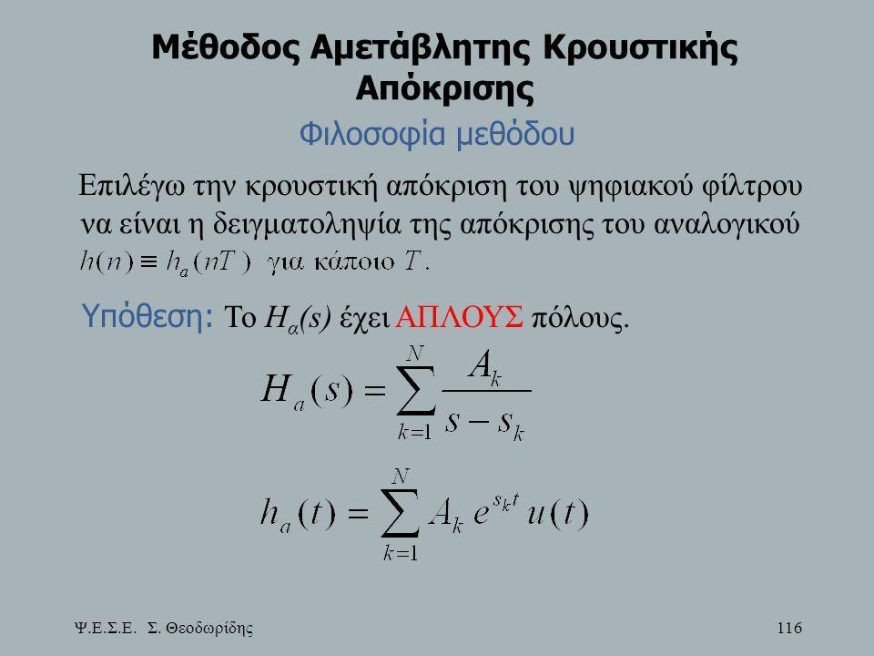 Ψ.Ε.Σ.Ε. Σ. Θεοδωρίδης 116 Μέθοδος Αμετάβλητης Κρουστικής Απόκρισης Φιλοσοφία μεθόδου Επιλέγω την κρουστική απόκριση του ψηφιακού φίλτρου να είναι η δ