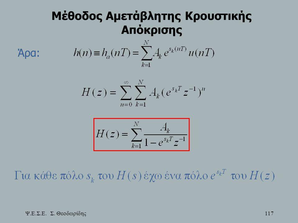 Ψ.Ε.Σ.Ε. Σ. Θεοδωρίδης 117 Μέθοδος Αμετάβλητης Κρουστικής Απόκρισης Άρα: