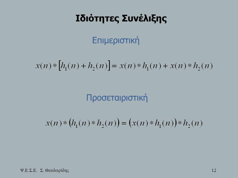 Ψ.Ε.Σ.Ε. Σ. Θεοδωρίδης 12 Ιδιότητες Συνέλιξης Επιμεριστική Προσεταιριστική