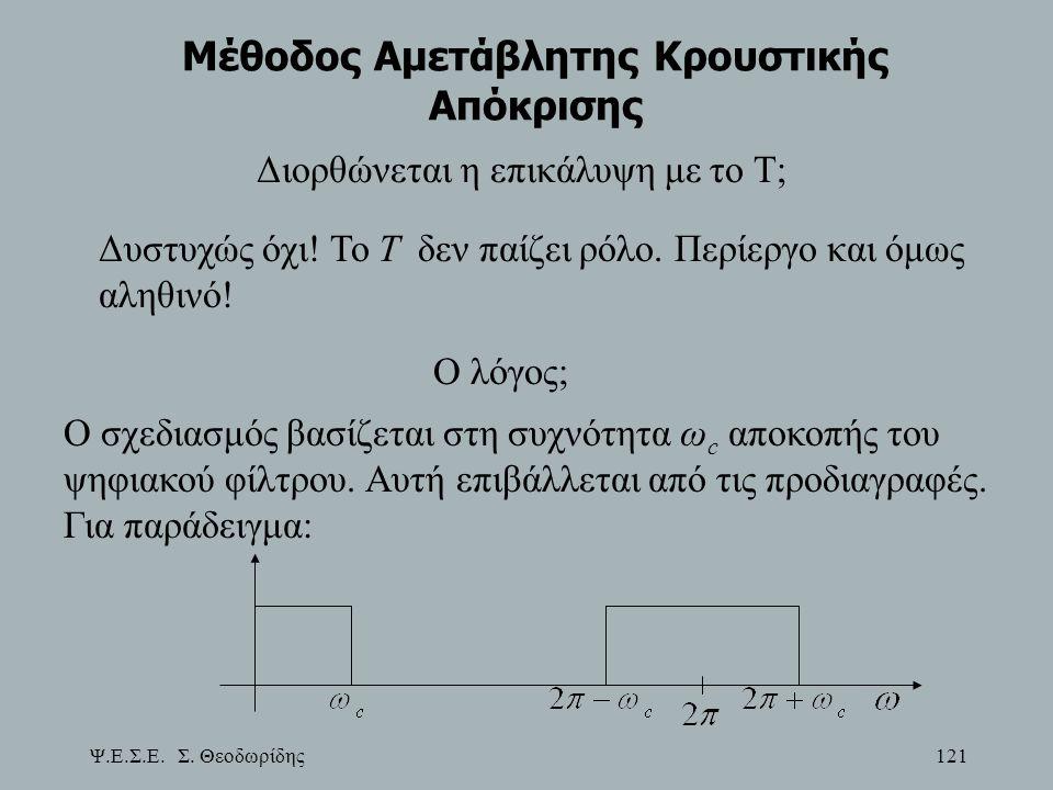 Ψ.Ε.Σ.Ε. Σ. Θεοδωρίδης 121 Μέθοδος Αμετάβλητης Κρουστικής Απόκρισης Διορθώνεται η επικάλυψη με το Τ; Δυστυχώς όχι! Το Τ δεν παίζει ρόλο. Περίεργο και
