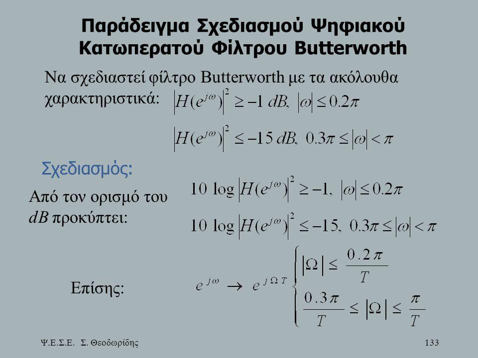 Ψ.Ε.Σ.Ε. Σ. Θεοδωρίδης 133 Παράδειγμα Σχεδιασμού Ψηφιακού Κατωπερατού Φίλτρου Butterworth Να σχεδιαστεί φίλτρο Butterworth με τα ακόλουθα χαρακτηριστι