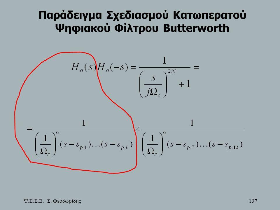 Ψ.Ε.Σ.Ε. Σ. Θεοδωρίδης 137 Παράδειγμα Σχεδιασμού Κατωπερατού Ψηφιακού Φίλτρου Butterworth