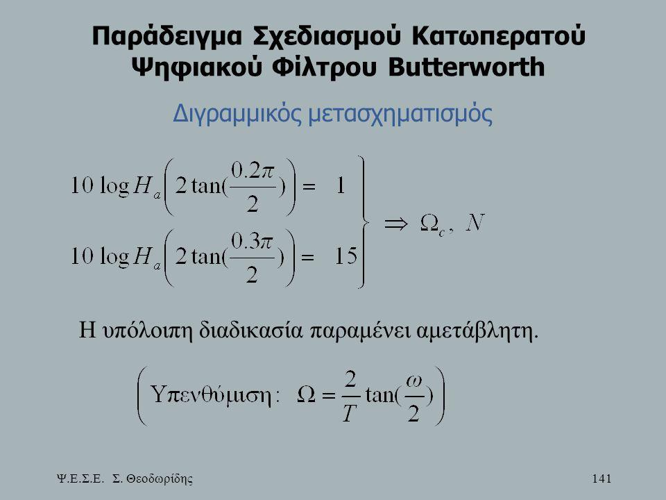 Ψ.Ε.Σ.Ε. Σ. Θεοδωρίδης 141 Παράδειγμα Σχεδιασμού Κατωπερατού Ψηφιακού Φίλτρου Butterworth Διγραμμικός μετασχηματισμός Η υπόλοιπη διαδικασία παραμένει