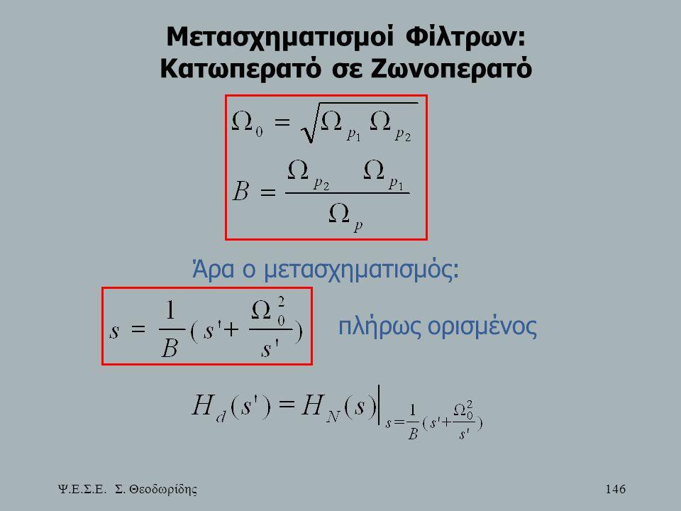 Ψ.Ε.Σ.Ε. Σ. Θεοδωρίδης 146 Μετασχηματισμοί Φίλτρων: Κατωπερατό σε Ζωνοπερατό Άρα ο μετασχηματισμός: πλήρως ορισμένος
