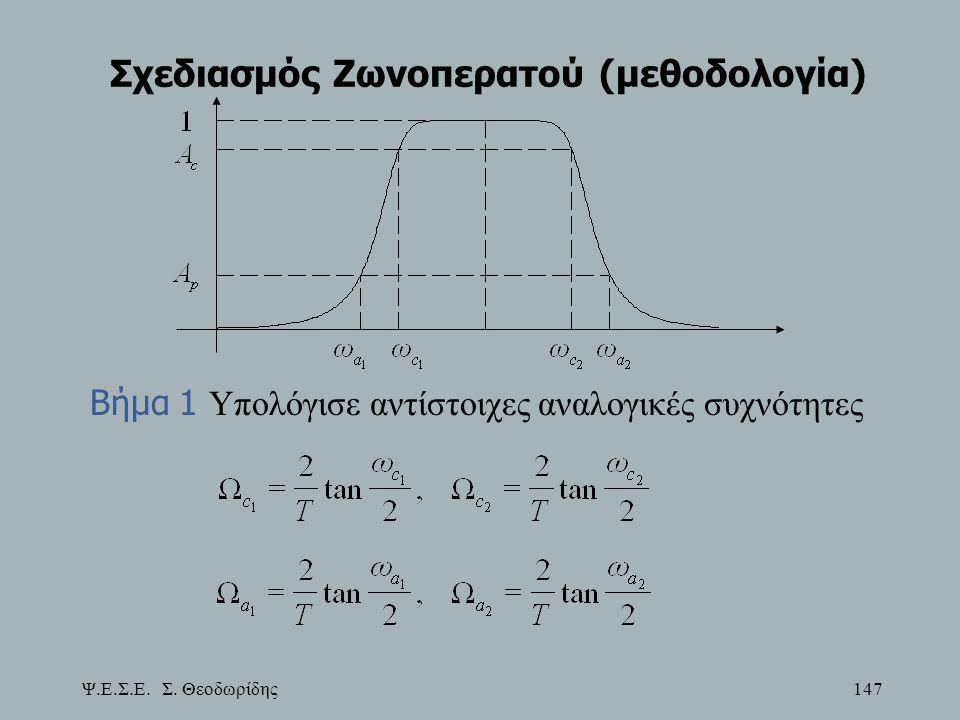 Ψ.Ε.Σ.Ε. Σ. Θεοδωρίδης 147 Σχεδιασμός Ζωνοπερατού (μεθοδολογία) Βήμα 1 Υπολόγισε αντίστοιχες αναλογικές συχνότητες