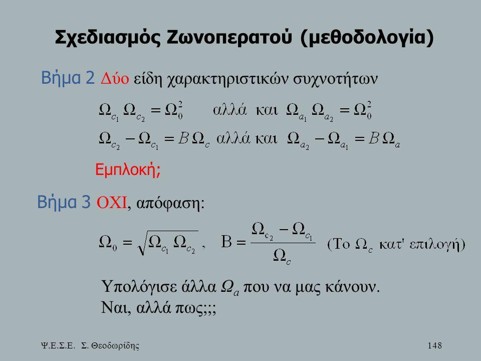 Ψ.Ε.Σ.Ε. Σ. Θεοδωρίδης 148 Σχεδιασμός Ζωνοπερατού (μεθοδολογία) Βήμα 2 Δύο είδη χαρακτηριστικών συχνοτήτων Εμπλοκή; Βήμα 3 ΟΧΙ, απόφαση: Υπολόγισε άλλ