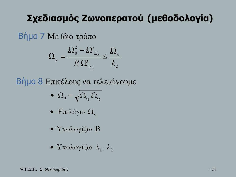 Ψ.Ε.Σ.Ε. Σ. Θεοδωρίδης 151 Σχεδιασμός Ζωνοπερατού (μεθοδολογία) Βήμα 7 Με ίδιο τρόπο Βήμα 8 Επιτέλους να τελειώνουμε