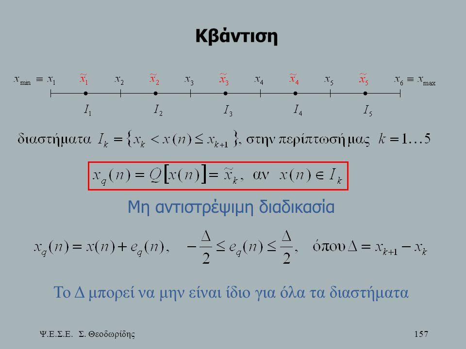 Ψ.Ε.Σ.Ε. Σ. Θεοδωρίδης 157 Κβάντιση Μη αντιστρέψιμη διαδικασία Το Δ μπορεί να μην είναι ίδιο για όλα τα διαστήματα