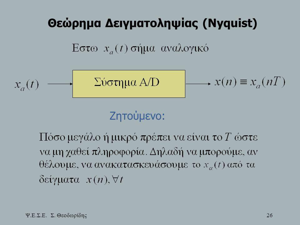 Ψ.Ε.Σ.Ε. Σ. Θεοδωρίδης 26 Θεώρημα Δειγματοληψίας (Nyquist) Ζητούμενο:
