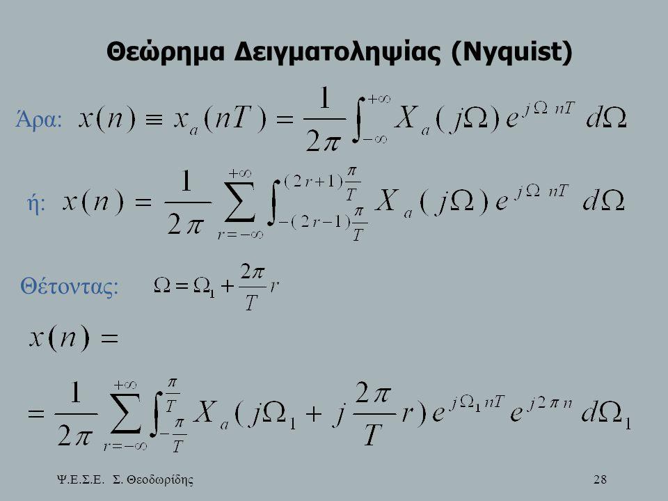 Ψ.Ε.Σ.Ε. Σ. Θεοδωρίδης 28 Θεώρημα Δειγματοληψίας (Nyquist) Άρα: ή: Θέτοντας: